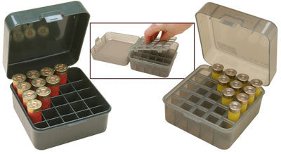 "MTM Shotshell Box 25 Round Flip-Top 12 20 Gauge up to 3"" Smoke"