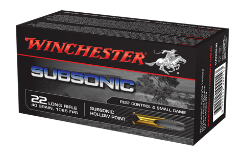 Winchester Subsonic Ammunition 22 Long Rifle (22LR) 40 Grain Subsonic Hollow Point (HP) (50pk)