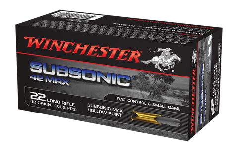 Winchester Subsonic Max Ammunition 22 Long Rifle (22LR) 42 Grain Subsonic Hollow Point (HP) (50pk)
