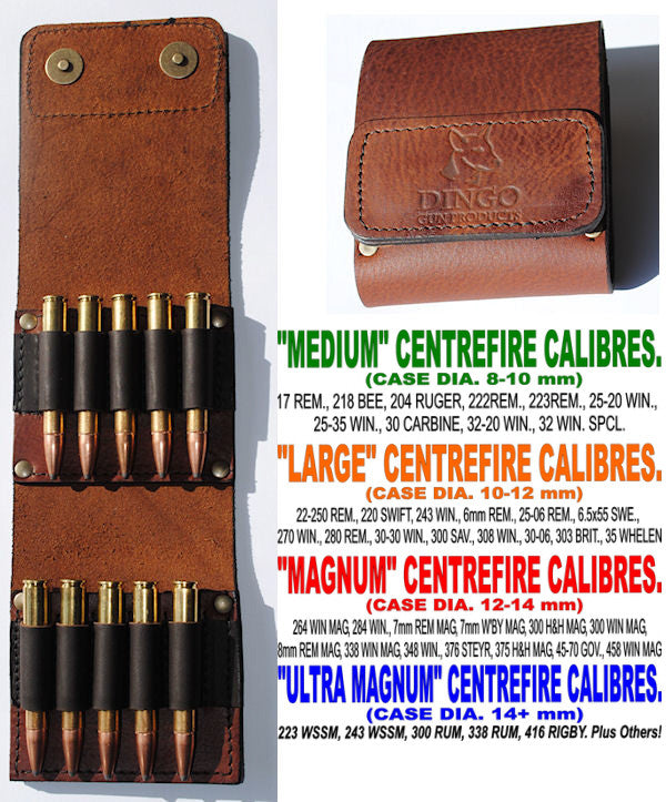 Dingo Leather Centerfire Ammo Wallet Magnum Centrefire Black