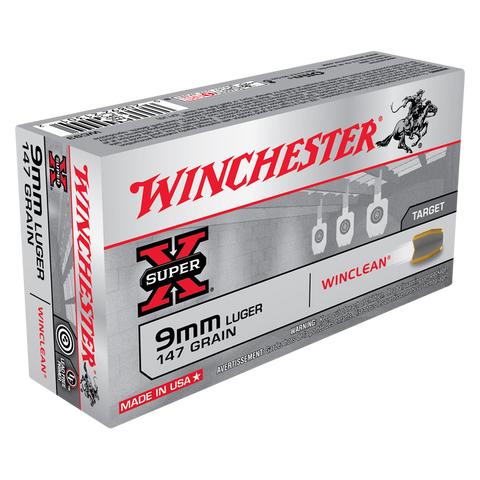 Winchester Win Clean Ammunition 9mm Luger 147  Grain Brass Enclosed Base (50pk)
