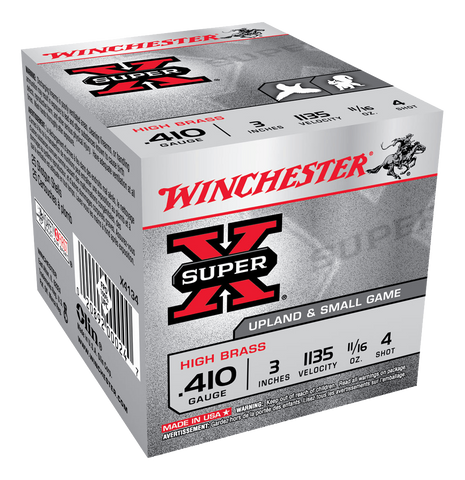 "Winchester Super-X Ammunition 410 Bore 3"" 11/16oz #4 Shot (25pk)"