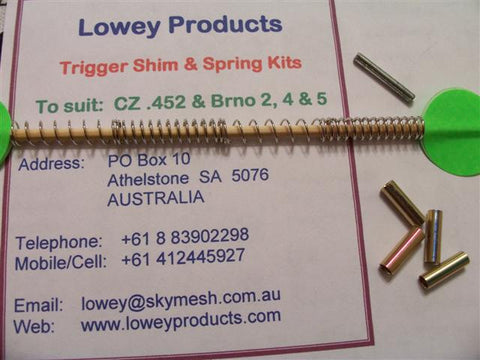 Lowey Trigger Shim & Spring Kit for CZ 452/455 & Brno Model 2, 4 & 5