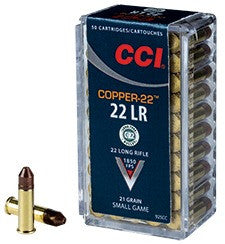 CCI Copper-22 Ammunition 22 Long Rifle (22LR) 21 Grain Copper Hollow Point (HP) Lead-Free (50pk)