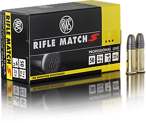 RWS Ammunition Rifle Match S 22 Long Rifle (22LR) 40 Grain Solid Point (50pk)