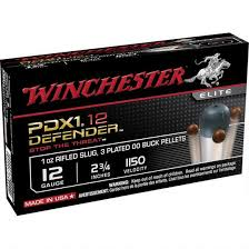 "Winchester PDX1 Defender Ammunition 12 Gauge 2 3/4"" 1 Ounce Rifle Slug Plus 3 BB Shot (10pk)"