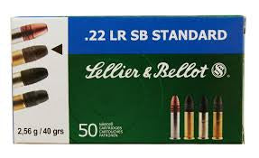 Sellier & Bellot (S&B) Standard Velocity Ammunition 22 Long Rifle 40 Grain Lead Round Nose (50pk)