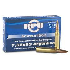 Prvi Partizan PPU Ammunition 7.65x53 Argentine 174 Grain Full Metal Jacket Boat Tail (20pk)