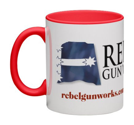 Rebel Gun Works Premium Mug (with Red Detail)