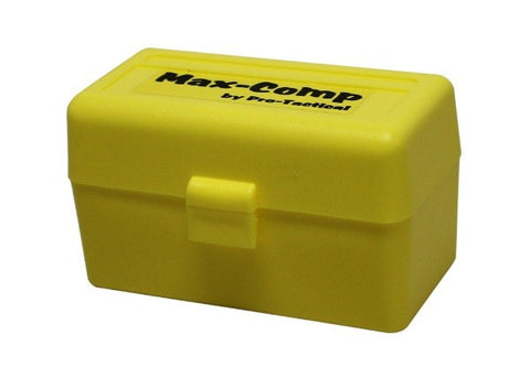 Pro-Tactical Max Comp Ammo Box Small Rifle 50 Round Yellow Fits 17 Remington, 204 Ruger, 223 Remington