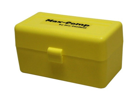 Pro-Tactical Max Comp Ammo Box Medium Rifle 50 Round Yellow Fits 22-250 Remington, 243 Winchester, 308 Winchester