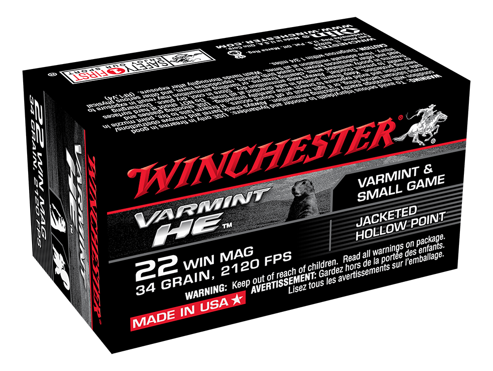Winchester Supreme Ammunition 22 Winchester Magnum Rimfire (WMR) (22Mag) 34 Grain Jacketed Hollow Point (JHP) (50pk)