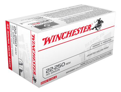 Winchester USA Ammunition 22-250 Remington 45 Grain Jacketed Hollow Point (40pk)