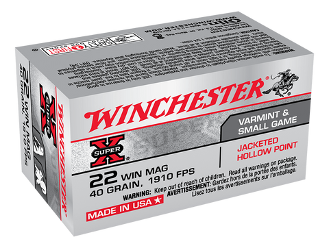 Winchester Super-X Ammunition 22 Winchester Magnum Rimfire (WMR) (22Mag) 40 Grain Jacketed Hollow Point (JHP) (50pk)