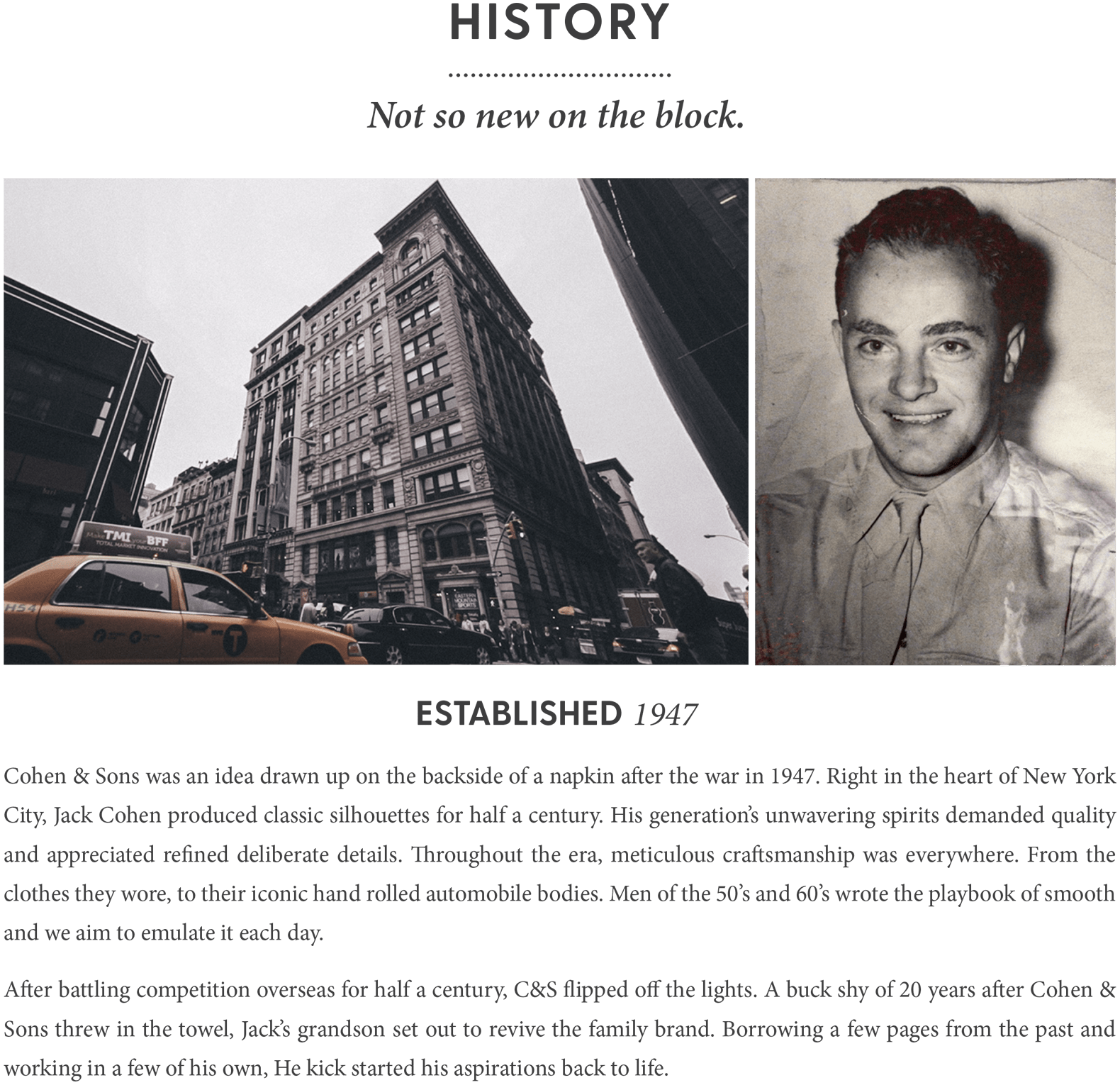 Cohen & Sons History