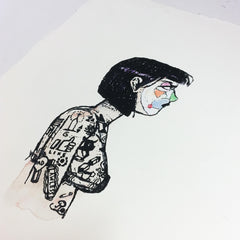 'PROFILE OF AN INKED GOTH' Unique Multiple / Edition of 100 Print