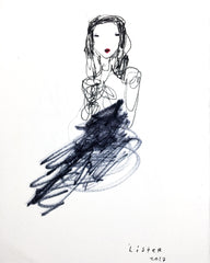 'LADY IN BLACK' Original Drawing