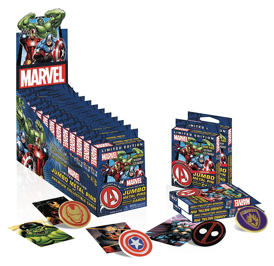 Marvel Limited Edition Jumbo Metal Pins & Premium Collectible Card Pack - Collectors Row Inc.