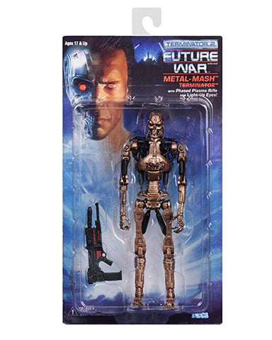 "NECA - Terminator 2 - 7"" Scale Action Figure - Kenner Tribute - Metal Mash Endoskeleton - Collectors Row Inc."