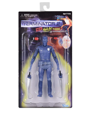"NECA - Terminator 2 - 7"" Scale Action Figure Kenner Tribute White Hot T-1000 - Collectors Row Inc."