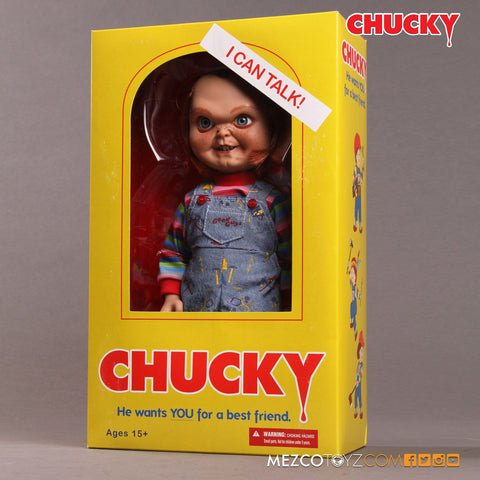 "Mezco Toyz  Sneering Chucky 15"" Mega Good Guy Action Figure with Sound - Collectors Row Inc."