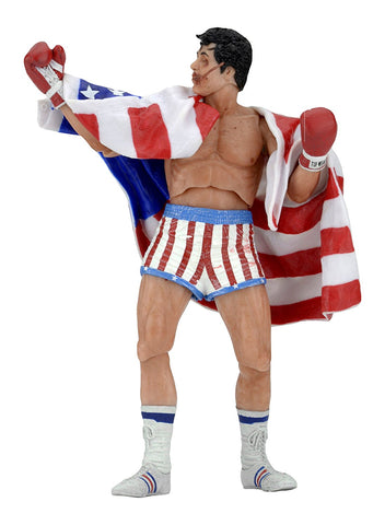"NECA Rocky 40Th Anniversary Scale Action Figure Series 2 Rocky (American Flag Trunks), 7"" - Collectors Row Inc."