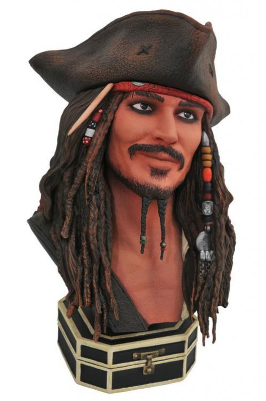 Pirates of The Caribbean Jack Sparrow Legends In 3D 1/2 Scale Bust by Diamond Select - Collectors Row Inc.