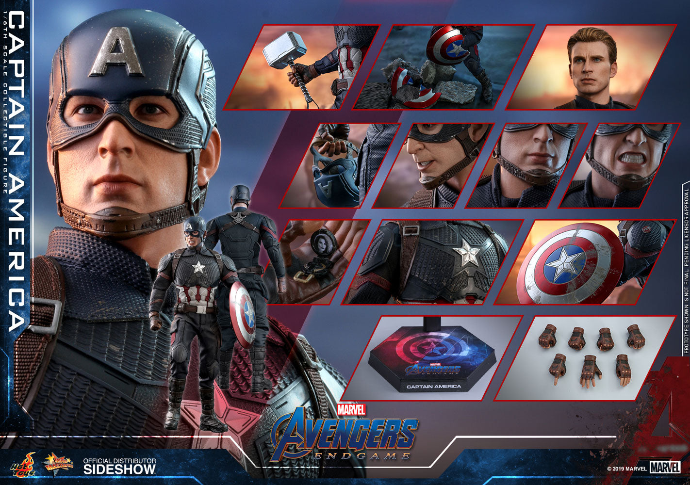 Hot Toys Captain America Marvel Avengers: Endgame Sixth Scale Figure - Collectors Row Inc.