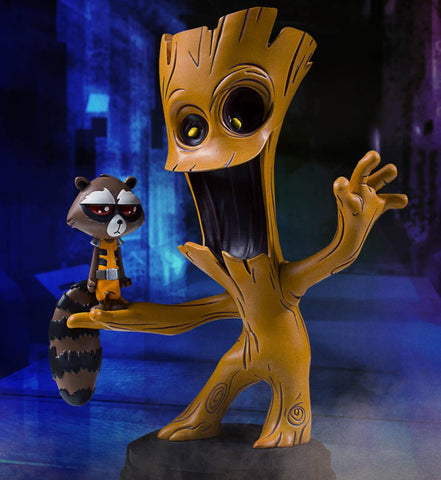 Groot and Rocket Raccoon Animated Marvel  Statue by Skottie Young and Gentle Giant - Collectors Row Inc.