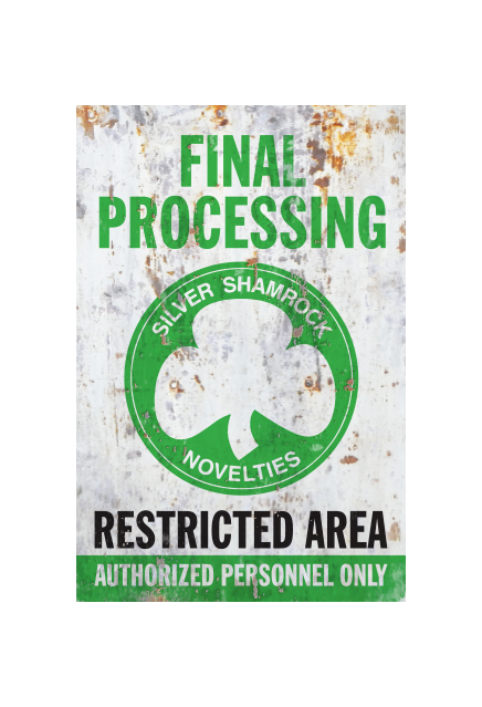 Halloween III Silver Shamrock Final Processing Aluminum Sign - Collectors Row Inc.