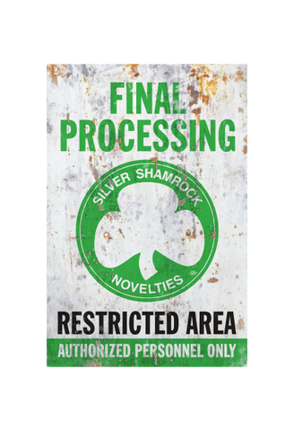 Halloween III Silver Shamrock Final Processing Aluminum Sign by Trick or Treat Studios - Collectors Row Inc.