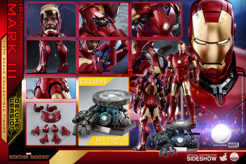 Hot Toys Iron Man Mark III Deluxe Version Avengers Marvel 1/4 Scale Figure - Collectors Row Inc.