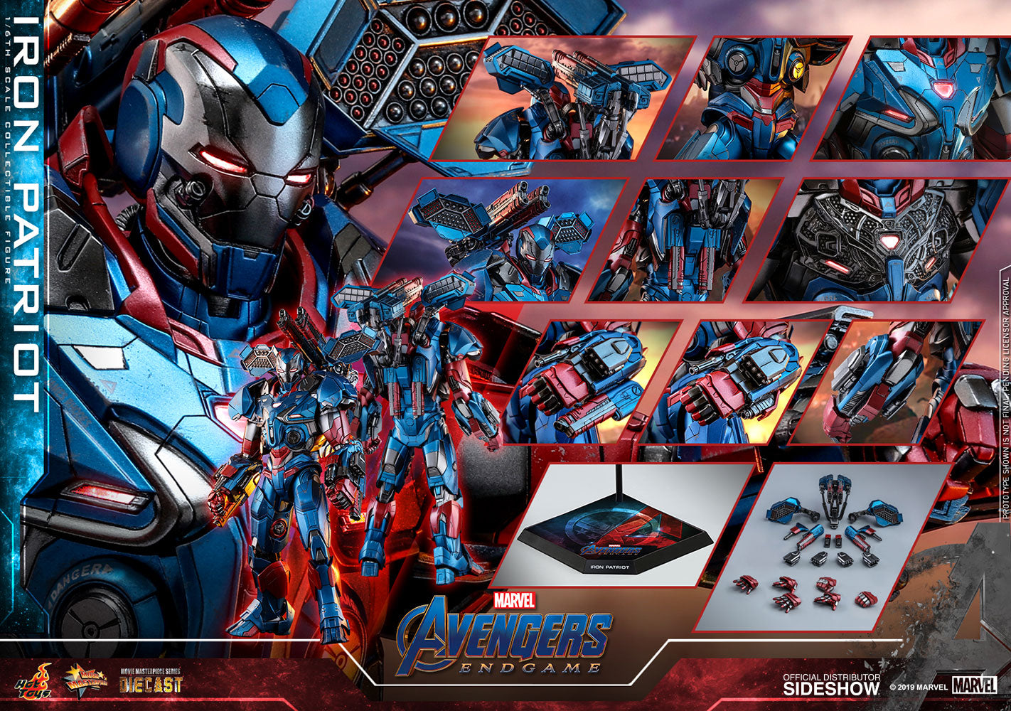 Iron Patriot Iron Man Marvel Avengers: Endgame Sixth Scale Figure - Collectors Row Inc.