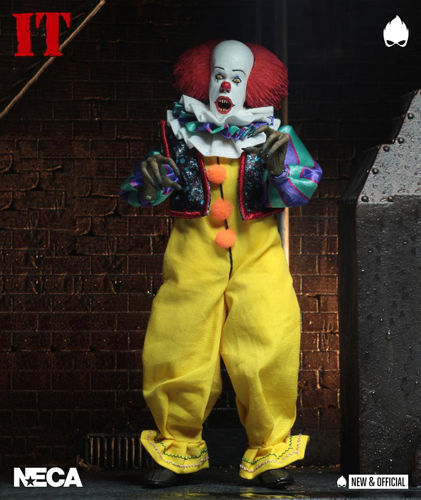 "IT - 8"" Clothed Action Figure - Pennywise (1990) - Collectors Row Inc."