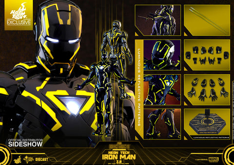 Hot Toys Iron Man Neon Tech 2.0 SDCC 2019 Exclusive Marvel 1/6 Scale Figure - Collectors Row Inc.