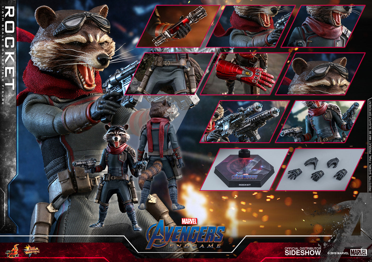 Hot Toys Rocket Marvel Avengers: Endgame Sixth Scale Figure - Collectors Row Inc.