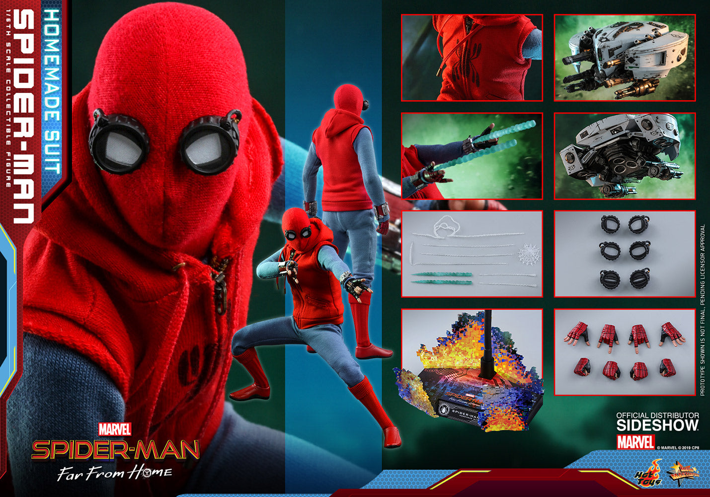 Spider Man Far From Home Marvel Homemade Suit Sixth Scale Figure Collectors Row Inc
