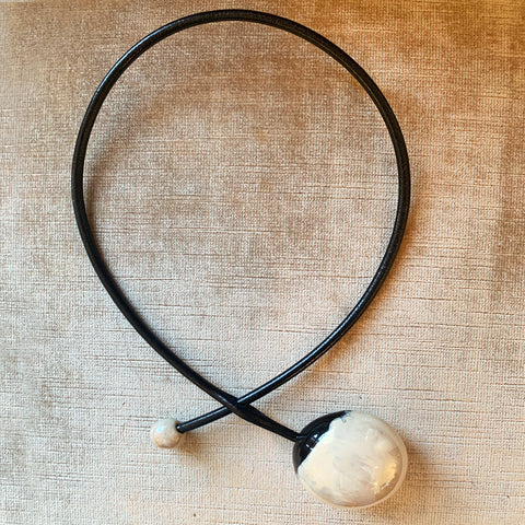 Brenda Hargan Ceramic Ivory & Leather Necklace