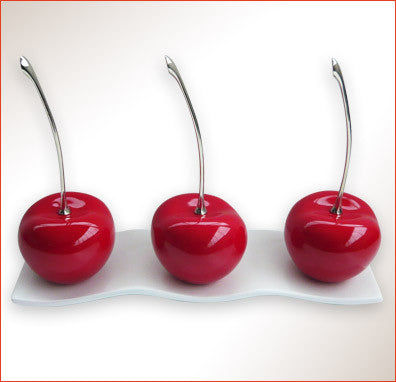 Ceramic Cherries with Ceramic Tray