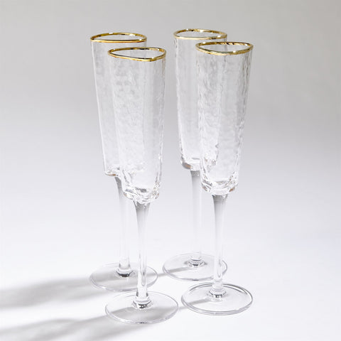 Hammered Champagne Glasses with Gold Rim