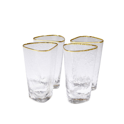 Hammered High Ball Glasses with Gold Rim