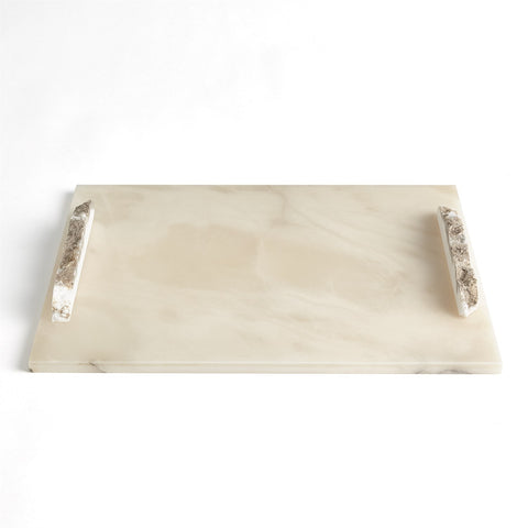 Alabaster Rectangle Tray with Rock Handles