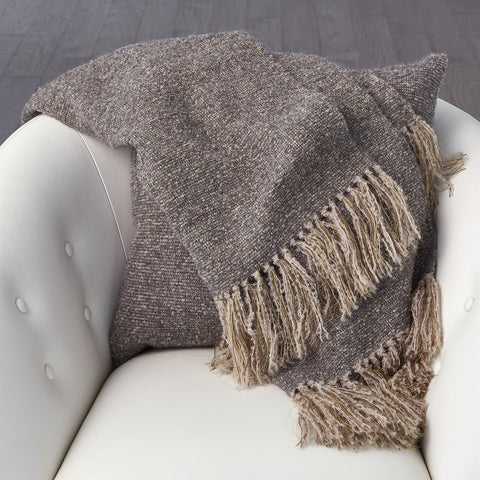 Luxury Alpaca Throw Light Grey