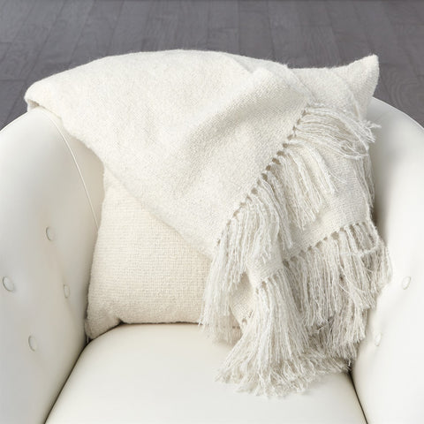 Luxury Alpaca Throw Ivory