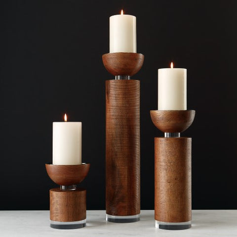 Scratched Brown Candle Pillar