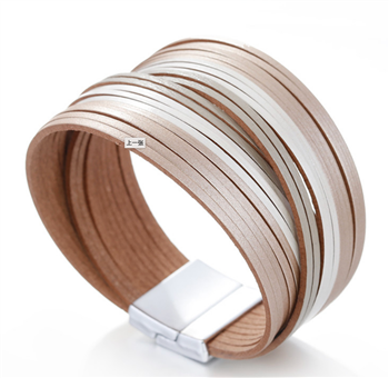 Tan and White Ombre Leather Bracelet