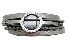 Silver Metallic Leather Bracelet with Clear Crystals
