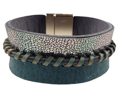 Dark Green and Metallic Leather Bracelet