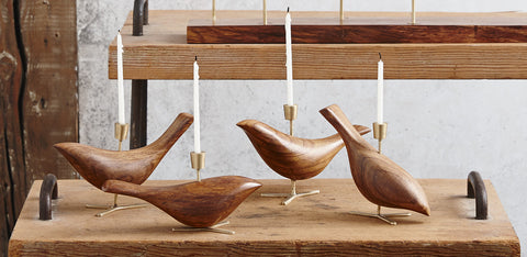 Carved Dove Candle Holders