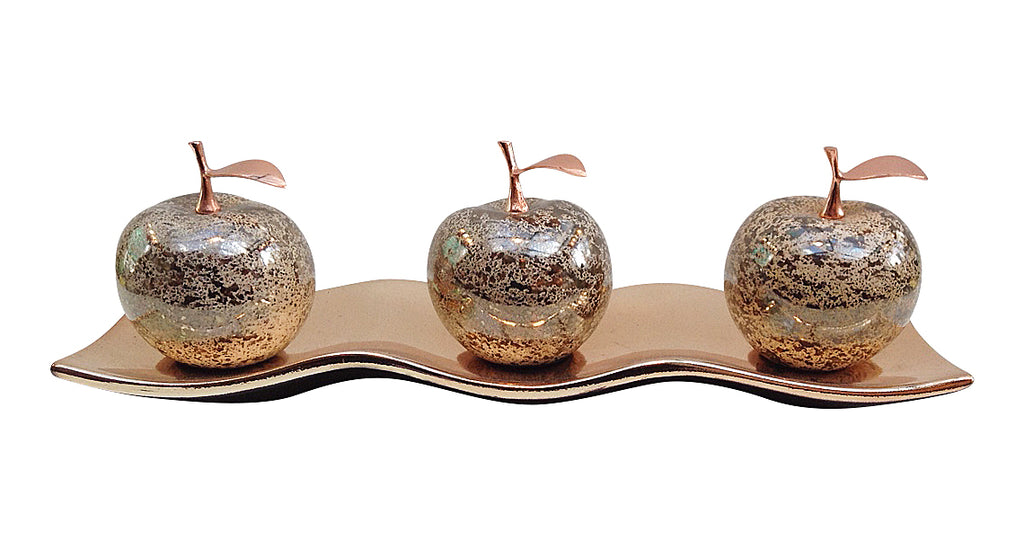 Ceramic Champagne Apples with ceramic tray